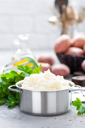 Mashed, mash potato with butter and milk. Potato puree Stok Fotoğraf - 98287109