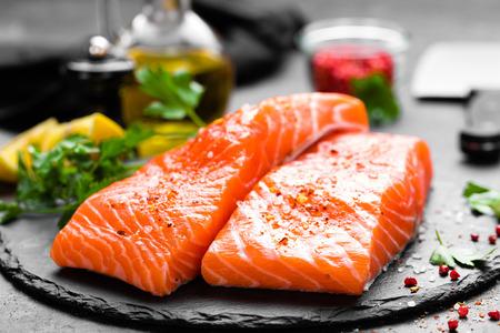 Salmon. Fresh salmon fish. Raw salmon fish fillet Stock Photo
