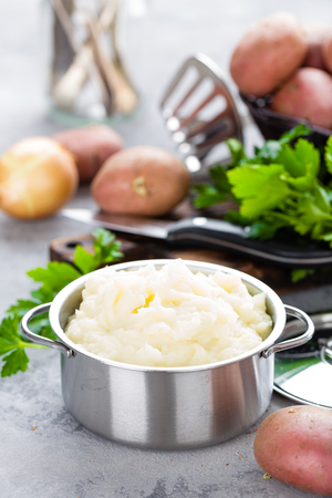 Mashed, mash potato with butter and milk. Potato puree 스톡 콘텐츠