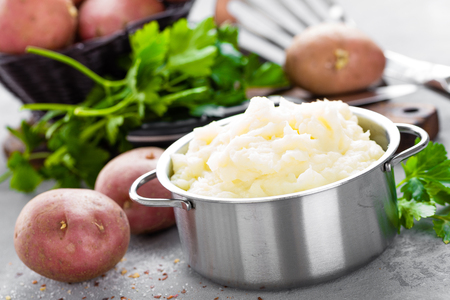 Mashed, mash potato with butter and milk. Potato puree Stock Photo