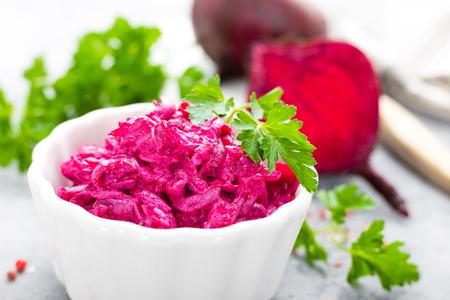 Beet salad. Vegetable salad of boiled beet