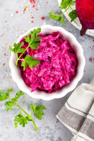 Beet salad. Vegetable salad of boiled beet Banco de Imagens - 99604783