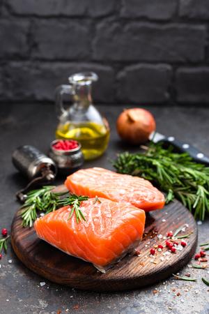 Salmon. Fresh salmon fish. Raw salmon fish fillet Stock fotó