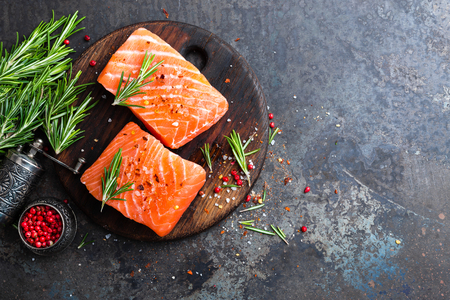 Salmon. Fresh salmon fish. Raw salmon fish fillet Stock Photo