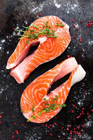 Salmon. Fresh salmon fish. Raw salmon fish steaks