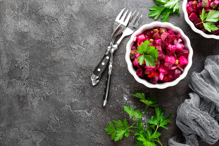 Beet salad. Vegetable salad with boiled beet. Beetroot salad Reklamní fotografie