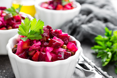 Beet salad. Vegetable salad with boiled beet. Beetroot salad Archivio Fotografico
