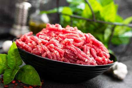 Raw ground beef meat. Fresh minced meat Stock Photo