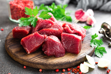 Raw beef meat. Fresh sliced beef sirloin 스톡 콘텐츠