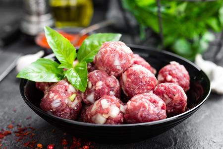 Beef meatballs. Cooking raw beef meatballs Stock Photo