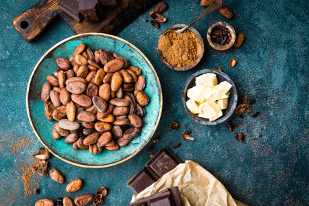 Cocoa. Cocoa beans, dark bitter chocolate chunks, cacao butter and cocoa powder. Cocoa  background