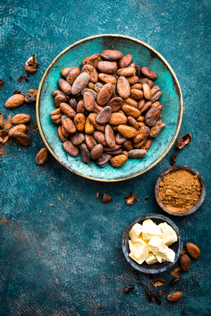 Cocoa beans, cocoa powder and cocoa butter. Cocoa background