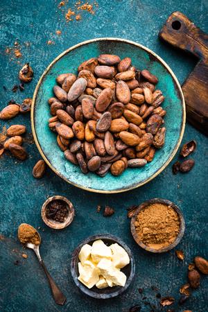 Cocoa beans, cocoa powder and cocoa butter. Cocoa background