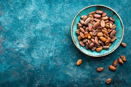 Cacaobonen. Cacao achtergrond Stockfoto