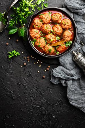 Beef meatballs in tomato sauce Stock Photo