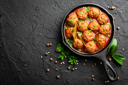 Beef meatballs in tomato sauce Stok Fotoğraf