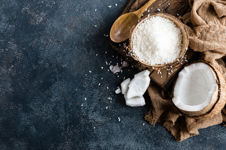 Coconut flakes in bowl