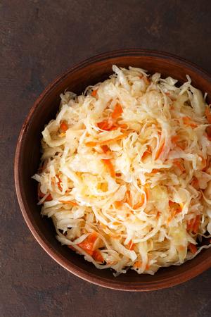 Sauerkraut. Chopped cabbage pickled in brine