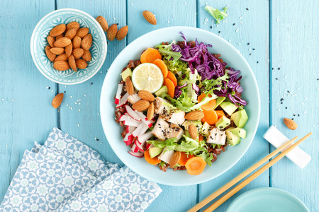 Bowl with grilled chicken meat, brown rice and fresh vegetable salad of avocado, radish, cabbage kale, carrot, and lettuce leaves. Healthy and delicious dietary lunch. Top view Stock Photo