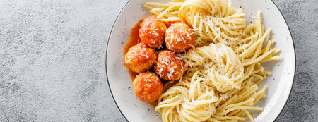 Spaghetti with tomato sauce and meatballs Stok Fotoğraf