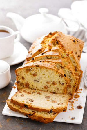 Fruit cake with raisin, sliced fruitcake Stock Photo
