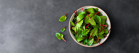 Fresh chard leaves on black background. Top view. Banner Stock Photo