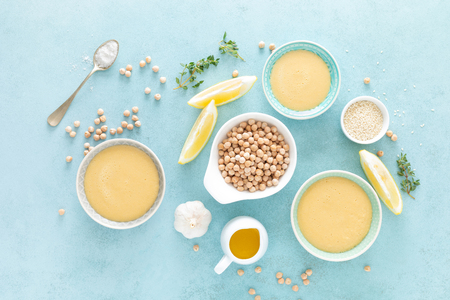 Chickpea sauce with fresh lemon juice, sesame seeds, garlic and olive oil, hummus