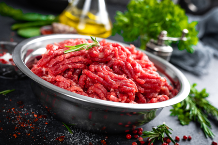 Mince. Ground meat with ingredients for cooking Stock Photo