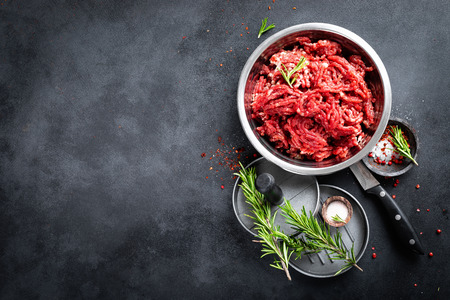 Mince. Ground meat with ingredients for cooking Stok Fotoğraf