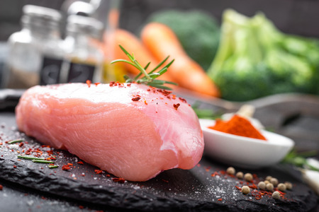 Fresh raw turkey meat fillet with ingredients for cooking 版權商用圖片 - 121455562
