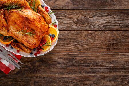 Weihnachten Truthahn. Traditionelles festliches Essen zu Weihnachten oder Thanksgiving