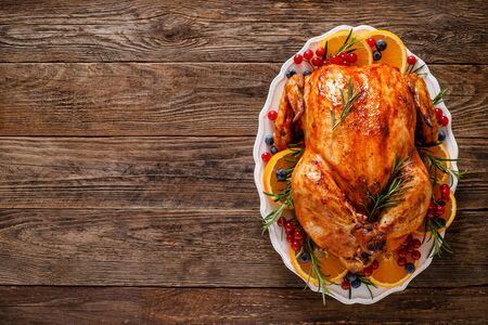Christmas turkey. Traditional festive food for Christmas or Thanksgiving Фото со стока - 128702400