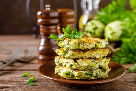 Vegetable fritters with zucchini and greens
