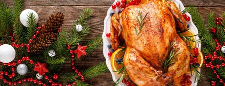 Christmas turkey. Traditional festive food for Christmas or Thanksgiving. Banner