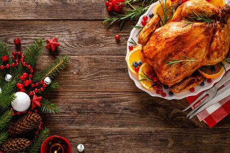 Christmas turkey. Traditional festive food for Christmas or Thanksgiving Фото со стока - 128906032