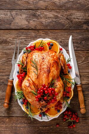 Christmas turkey. Traditional festive food for Christmas or Thanksgiving Stockfoto