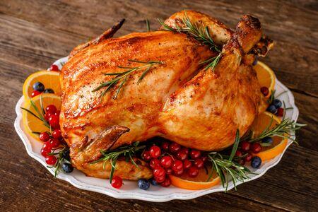 Kerst kalkoen. Traditioneel feestelijk eten voor Kerstmis of Thanksgiving