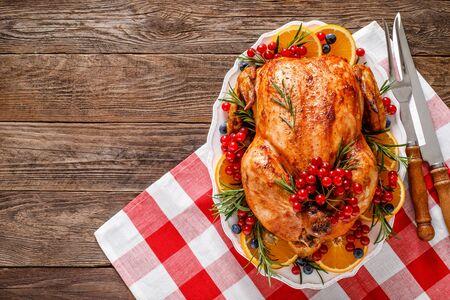 Christmas turkey. Traditional festive food for Christmas or Thanksgiving Stock fotó