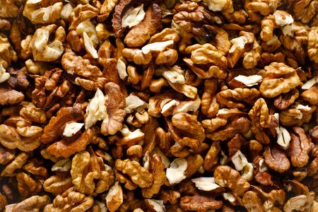 Walnuts. Kernels nuts background, top view