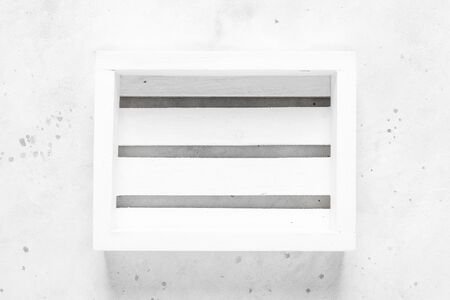 Empty wooden crate box on white background, top view, space for text