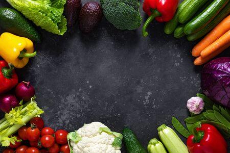 Healthy food, fresh raw organic vegetables, clean eating, vegetarian food concept background, top view Reklamní fotografie
