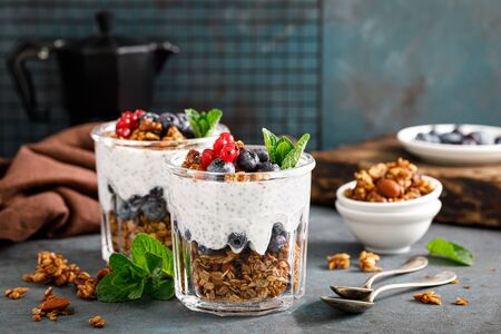 Layered blueberry and red currant parfait with chia yogurt, homemade oat granola and fresh berries for breakfast