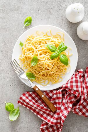 Pasta. Traditional italian food. Vermicelli with fresh basil