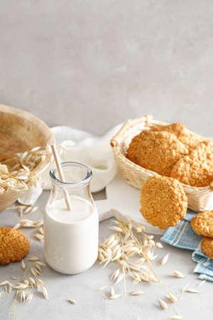 Oat milk. Delicious and healthy vegetarian alternative milk drink. Non-dairy milk