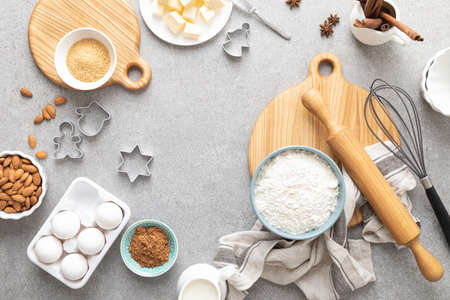 Christmas culinary background with baking ingredients, copy space for text, top down view