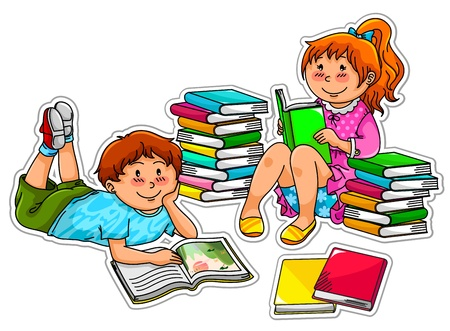 woman lying down: two kids reading books
