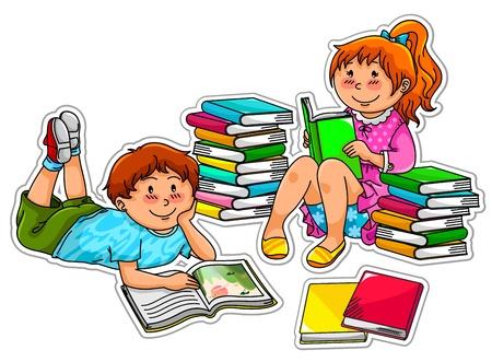 m�rchen: zwei Kinder B�cher lesen Illustration