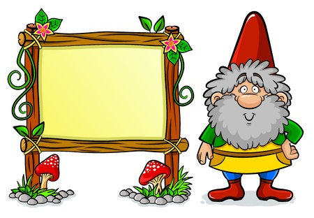 gnome: dwarf standing next to a decorated message board