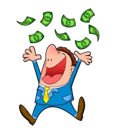 loteria: buisness hombre bajo una lluvia de dinero