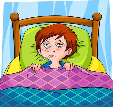 ni�os enfermos: persona enferma en la cama Vectores